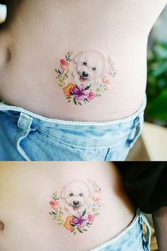 51 Gorgeous Looking Watercolor Tattoo Ideas Cute Belly Tattoo With Dog Small Dog Tattoos, Mini Tattoos, Body Art Tattoos, Crow Tattoos, Small Tattoo Designs, Flower Tattoo Designs, Symbolic Tattoos, Unique Tattoos, Belly Tattoos