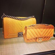 Amazing Orange CHANEL Chevron Boy Bag & CHANEL Chevron Bag. Unknown picture owner #chanelbag #chanelboy #boybag