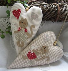 Decoration - Cat / heart / Spring in country style - a designer piece of Feinerlei on DaWanda
