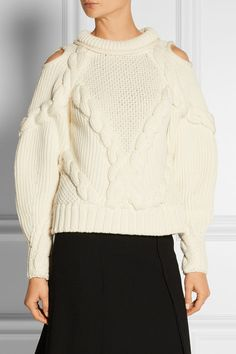 Alexander McQueen | Cutout cable-knit wool sweater | NET-A-PORTER.COM