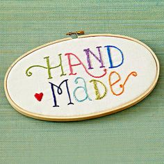 Handmade embroidery hoop art: I can't do embroidery like this...now...It's so pretty & perfect for a craft room. ~AM
