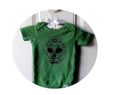 Sugar Skull Infant Creeper Day of the Dead Baby by CausticThreads