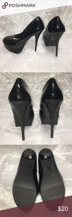 Charlotte Russe patent stiletto Super cute patent stiletto. Heel is thin. I wore them out for half a night and gave up. My old feet can't handle the crazy heels anymore. These shoes will go with anything! Charlotte Russe Shoes Heels