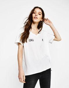 T-shirt with strappy back - T-Shirts - Bershka Turkey