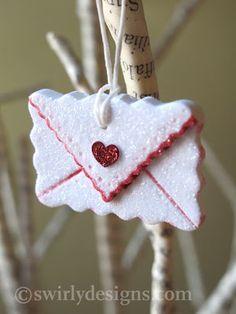 Swirly Designs handmade Valentine's ornament