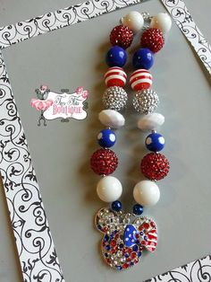 Patriotic MINNIE MOUSE Huge Rhinestone Bling Chunky Necklace- Chunky bubblegum necklace, Girls chunky necklace, Gumball necklace on Etsy, $18.50