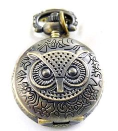 Owl-bronze-pocket-watch-long-necklace-vintage-retro-jewellery-pendant-Quartz