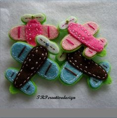 Handmade Aeroplane Felt Applique (Double Layers - Pink and Dark Brown). $5.00, via Etsy.
