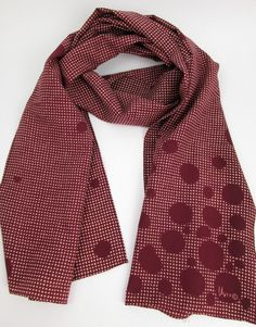 Vintage Vera oxblood red and off-white grid and polkadots oblong scarf late 60s