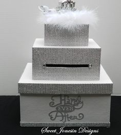 White Cinderella Bling  Wedding Card Box Diamond Mesh Ribbon Fairytale Wedding Sweet 16 Bridal Shower