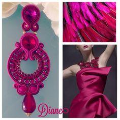 Tassel Jewelry, Textile Jewelry, Fabric Jewelry, Beaded Jewelry, Beaded Necklace, Jewellery, Soutache Earrings, Pink Earrings, Shibori