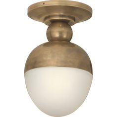 Visual Comfort Lighting TOB4006HAB-WG Thomas O Brien Clark Flush Mount in Hand-Rubbed Antique Brass with White Glass
