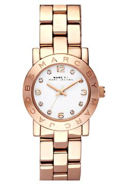 This Marc Jacobs watch gives a perfect example the popularity of the color rose gold. This color has been seen a lot recently, especially in watches and bracelets. Rose gold has given the fashion world a little twist to the original gold color and is especially popular in women's fashion. Jaden J.