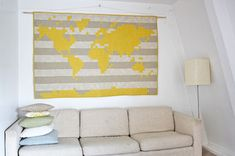 pixelated world map quilt @ www.yellowspool.com, this time with Antarctica