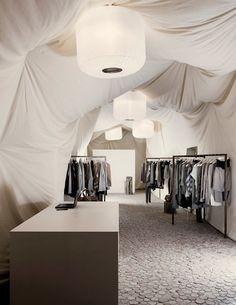 Ah, the wonders of a temporary space.  Nanushka Beta store by zsofi dobos