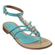 "OMG so flippin' cute!  Nine West Jeweled thong suede upper .5"" sandal.  Adjustable ankle buckle closure."