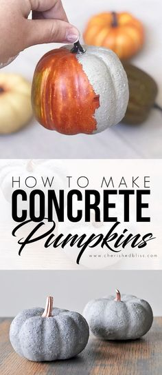 These easy to make Concrete Pumpkins don't require the actual use of concrete. Come see how easy it is to give anything the look of real concrete! How To Make Pumpkin, Diy Pumpkin, Pumpkin Crafts, How To Make Diy, Arts And Crafts Furniture, Fun Arts And Crafts, Fun Diy Crafts, Kid Crafts, Concrete Crafts