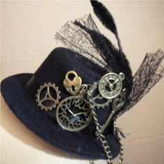 Clock Parts Charms Steam Punk Fascinator Hat with Randon Weave Lace Tulle by Linda Ann, http://www.amazon.com/dp/B007ODSWUG/ref=cm_sw_r_pi_dp_1AVprb1ADZ144