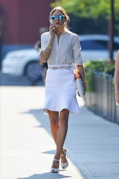 Olivia Palermo seen in a pretty plain white skirt and polka dotted shirt in the Meatpacking District in New York City - Pictures - Zimbio
