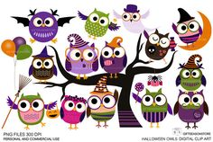 Halloween owls Digital clip art for Personal by Giftseasonstore, $2.00