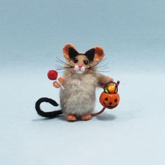 Very miniature little Halloween trick or treat mouse in cat costume with cat ears, tail, and very tiny sucker and pumpkin bucket filled with candy! Halloween Trick Or Treat, Happy Halloween, Pumpkin Bucket, Halloween Miniatures, Polymer Clay Animals, Cat Costumes, Cat Ears, Candy, Handmade