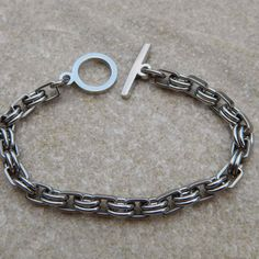 Oval and Square Stainless Steel Link Bracelet by WireNWhimsy, $32.00