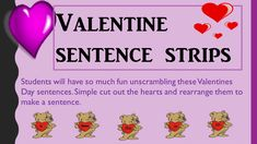 Valentine's Day ELA workbook, with sentences stripes, fill-ins, make a sentence, subjects and predicates, and more. Great for morning work, centers, and Valentines Day Centers.