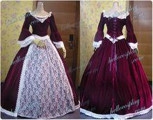 Vestido rojo de 65 % algodón + 35 % poliéster Marie Antonieta victoriana Vino balón vestido de fiesta H008(China (Mainland))