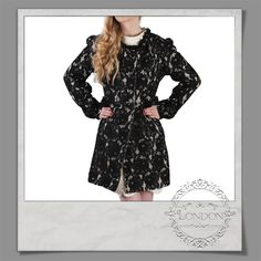 #Embroidered #Lace #Coat #Black and #Cream #lining