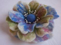 Multicolored felt wool brooch flowerfelt by FahionFeltProducts