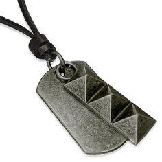 Mens Black Leather Necklace Ingot & Dog Tag Adjustable Men's Jewellery #mensfashion #mensjewellery