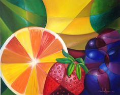 Fuits Painting, modern art, colorfull fruits picture Fruit Picture, Tropical Colors, Oil On Canvas, Modern Art, Painting, Drawings, Outdoor Decor, Pictures, Canada