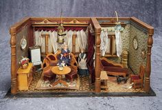 """21"""" (53 cm.) Petite German Furnished Wooden Doll Rooms 800/1100"""