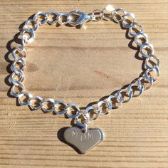 Handstamped Mom charm bracelet, Mother's day gift