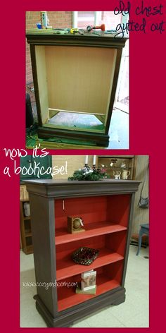 Distressed Chest Turned into Bookcase.  I love how they did the inside in a cute color!