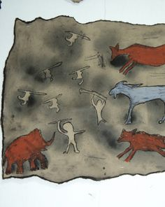 Stone Age: Activities: Make Cave Paintings For FA Final; have them create a cave painting, write a story for their painting, and have them act it out? Prehistoric Age, Stone Age Art, Cave Drawings, History Activities, Painting Activities, We Will Rock You, Cave Painting, Iron Age, Teaching Art
