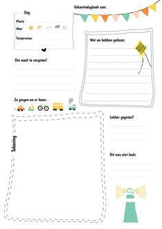 Gratis printable: vakantiedagboek – Back to School Kids Schedule, Leader In Me, Travel Planner, Summer Kids, Travel With Kids, Teaching Kids, Diy For Kids, Back To School, Activities For Kids