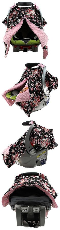 Car Seat Accessories 66693: Dear Baby Gear Carseat Canopy, Vintage Floral Roses On Black, Pink Minky -> BUY IT NOW ONLY: $33.86 on eBay!