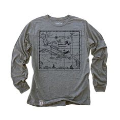 Bermuda Triangle: Tri-Blend Long Sleeve T-Shirt in Heather Grey