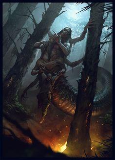 """Silent beast My work for """"Evilbook"""" project. by Max Kostin (PRO) Illustrator, concept artist Dark Fantasy Art, Fantasy Artwork, Fantasy Concept Art, Fantasy Kunst, Demon Artwork, Horror Artwork, Monster Art, Monster Concept Art, Monster Design"""