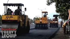 Bomag Tandem Roller and two Sakai Tire Roller compacting New asphalt layer
