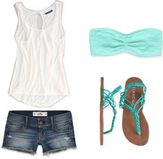 colored bandeau, white tank  cute jean shorts.