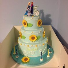 Frozen fever 3 tier chocolate cake for birthday with sunflowers 4th Birthday Parties, 5th Birthday, Homemade Cakes, Sunflowers, Chocolate Cake, Frozen, Party, Desserts, Food