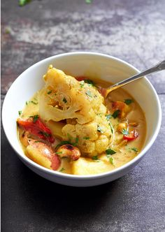 Cashew Whole Cauliflower Curry (Slow Cooker) — A filling main course packed with good-for-you nutrients. eatwell101.com