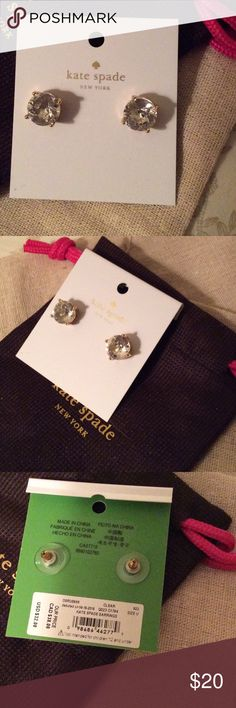 NWT Kate Spade Clear Round Earring Studs New with Tags Kate Spade Clear Round Earring Studs. Measures approximately.25 inches. Comes with pouch kate spade Jewelry Earrings