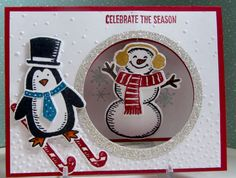 Stampin' Up! Snow Place stamp set and Snow Friends Framelits dies bundle and Seasonal Frame Thinlits dies and Softly Falling embossing folder