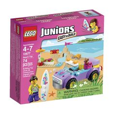 Lego JUNIORS Beach Trip - Ages 4-7, Set 10677 (74 pc - Includes a minifigure and a dog, ice cream, parasol, crab, stereo and a beach bag.)