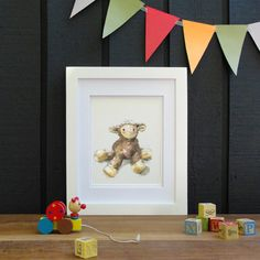 Sweet Baby Lamb Watercolor Nursery Art