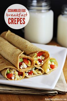 Scrambled Egg Breakfast Crepes -- whole wheat crepes filled with eggs and your choice of toppings. A healthy & versatile meal!