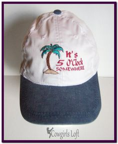 Embroidered Cap It s 5 O Clock Somewhere with Palm Tree White w Blue Jean  Bill Cotton Hat Baseball Sun Beach Cap aa50b07326cb